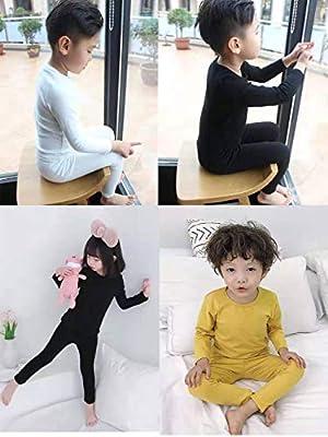 iChunhua Pijama de algodón Liso para niños y niñas