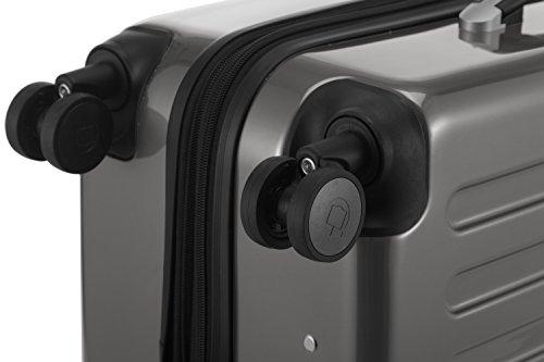 HAUPTSTADTKOFFER - Alex - NEU 4 Doppel-Rollen Hartschalen-Koffer Koffer Trolley Rollkoffer Reisekoffer, TSA, 65 cm, 74 Liter, Titan - 6