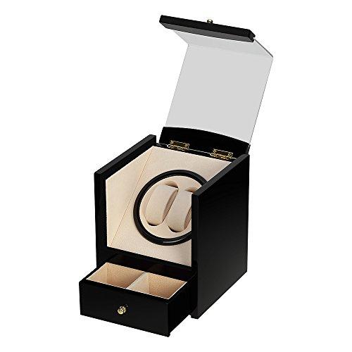 Uten watch winder Scatola orologio a carica automatica in legno per 2+2 orologi da polso (Nero)