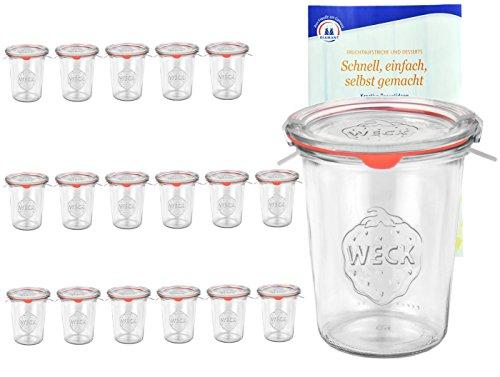 MamboCat 18er Set Original WECK 3/4-Liter Sturzglas, 850 ml, Rundrandglas RR100 + Glasdeckel + Dichtring + Weck-Klammern + Rezeptheft, Einmachglas, Einkoch-Set, Einlegen, Einwecken + Konservieren 0,75 L Glas