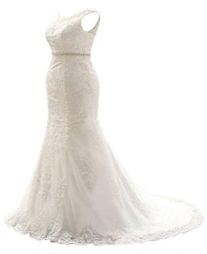 Sarahbridal 2017 Bridal Mermaid Wedding Dresses Plus Size Lace Gown Dress For Women SSW057 White Size UK (Plus Size Dresses Wedding)