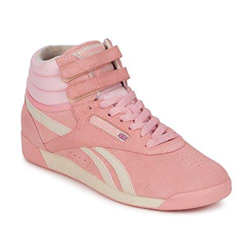 Reebok F/S Hi Da Donna Classico Rosa Pastello/bianco/argento/puro Hi Top Trainers PINK / White / PURE / SILVER