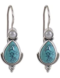 Silverwala 925-92.5 Sterling Silver Pearl Ruby Turquoise Stone Fashion Hanging Earring for Women and Girls