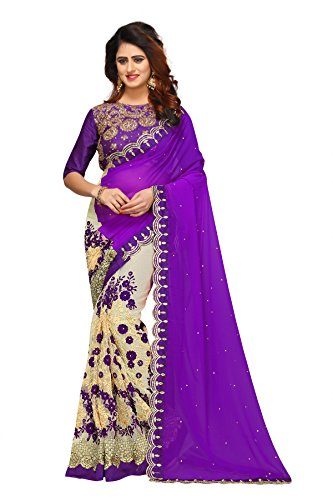 Sunshine Fashion Women's Georgette & Mono Net & Banglori Silk Fabric Saree With Blouse Piece (Purple)