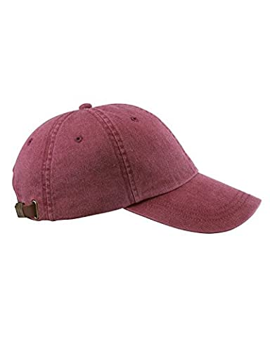 Adams 6-Panel Low-Profile Washed Pigment-Dyed Cap, Burgundy, OS