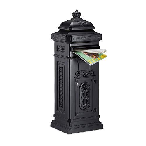 Relaxdays Standbriefkasten Antik HBT: 106 x 38 x 34 cm nostalgischer Säulenbriefkasten aus rostfreiem Aluminium englischer Briefkasten Postkasten in britischem Design mit Posthorn, schwarz