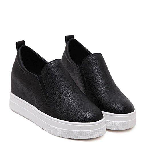 L@YC Frauen flache Schuhe Plattform hohe runde Kopf trug bequeme Schuhe schwarz wei? Black