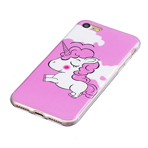 Custodia iPhone 7 / iPhone 8 Cover Silicone , YIGA Unicorno rosa Moda Nottilucenti Luminoso Trasparente Silicone Morbido TPU Case Custodia per Apple iPhone 7 / iPhone 8 (4.7) YG-XS80