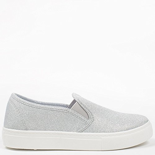 Ideal Shoes – slip-on Glitterlack Samira Silber - silber