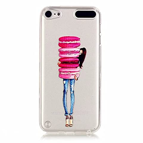 MUTOUREN iPod Touch 5/Touch 6 case cover Fashion Design Protective Back Rubber Case Cover Shell Perfect Fitted flexible soft crystal clear, anti-shock anti-scratch -Hamburg Girl pink macaroon