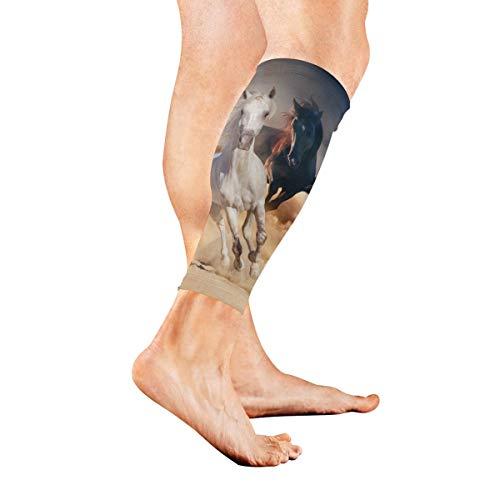 AGIRL Pferde galoppieren über die Wiese Kalb Kompression Ärmel Bein Kompression Socken für Schienbeinschiene Kalb Schmerzlinderung Männer Frauen und Läufer verbessert die Durchblutung - Männer-schwarz über Das Für Kalb-socken