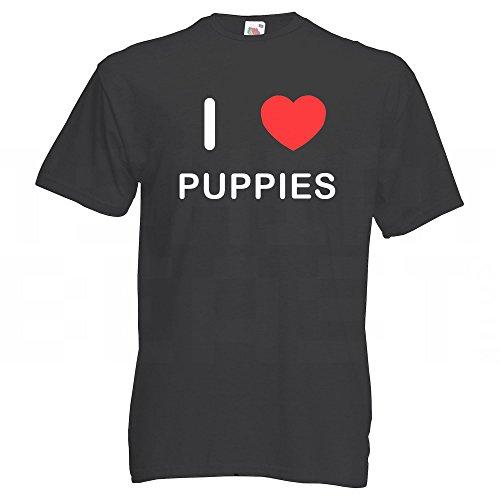I Love Puppies - T-Shirt Schwarz