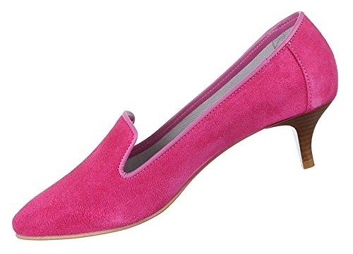 Damen Schuhe Pumps Bequeme Komfort Leder Pink