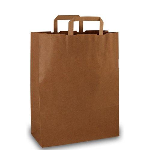 250 Papiertragetaschen Papiertaschen Tüten Papiertüten Tragetaschen braun 22 + 11 x 28 cm