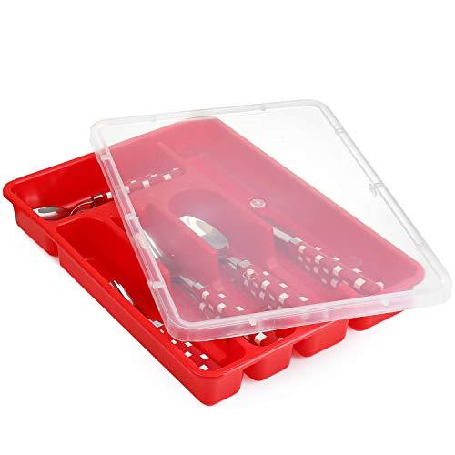 Zilpoo Bandeja para cubiertos con tapa, plástico organizador de cajones de para cubertería de utensilios...