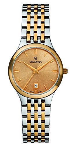 GROVANA 5013.1141 Women's Quartz Swiss Watch with Gold Dial Analogue Display and Two-Tone Stainless Steel Bracelet