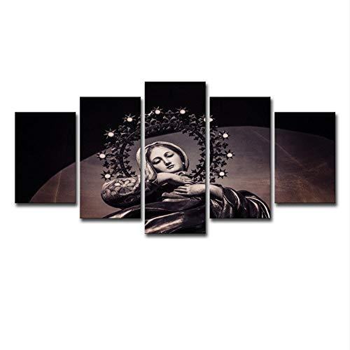 """WLGOOD-Imagen 150x80 cm/59.1""""x31.5"""",4 Opciones de tamaño/Decoración de Pared/Formato Grande/Cuadro en Lienzo Tejido/Abstracto/Imagen/Gráfica/5 Piezas,Cristianismo, Virgen María"""