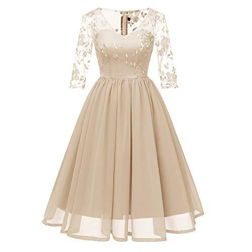Chichi Kostüm - MAYOGO Kleid Damen Elegant Vintage 50er Spitze Kleid mit Tüll Langarm Cocktail Party Rockabill Kleider Abendkleid