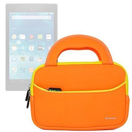 7-8 pollici Tablet Custodia Universale, Evecase 7-8 pollici Borsa in Neoprene con Manici per XO Bambini Educativo 7 Pollici Android Tablet PC - Arancione