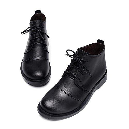 CHAOYANGCuir vachette bottes bottines plates manuel femmes Pointure 41 Black