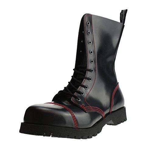 Boots & Braces - 10 Loch schwarz mit roter Naht, Stiefel Rangers Noir - Noir/rouge