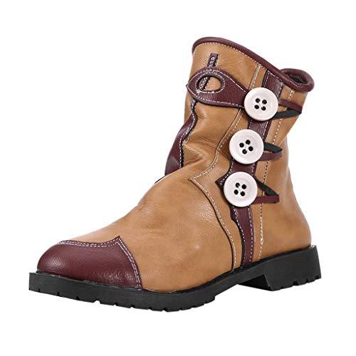 ZHANSANFM Ärmel kurze Stiefel Damen Vintage Halbschuhe Frauen Ankle Boots Chelsea Loafers Stiefeletten Leicht Gefüttert Freizeitschuhe Rutschfeste Vintageoptik Flacheschuhe (40 EU, Gelb) -