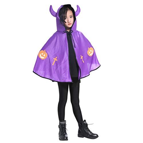 Rosennie Halloween Kostüm Karneval Kinderkleidung Kleinkind Halloween Baby Ochsenhorn Umhang Cape Robe mit Kapuze Lange Samt Cape Vampir Kostüm Halloween Unisex Party Cosplay Kostüm(Lila)