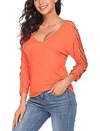d6edbc9b77ee8 Meaneor Mujer Camiseta Manga Larga Camisas y Blusas Cuello en V 3 4 Hueco  Fuera