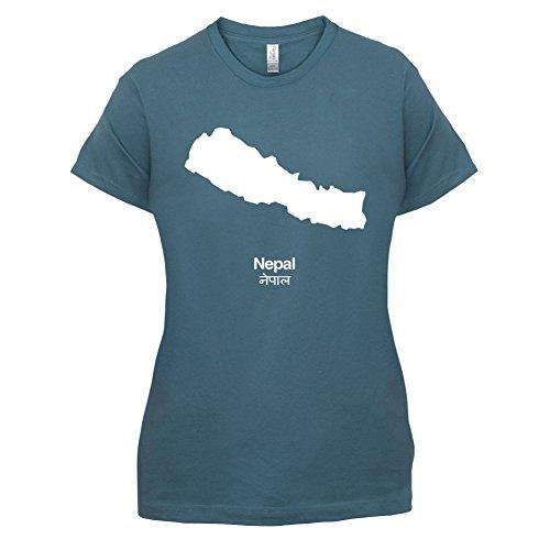Nepal / Demokratische Bundesrepublik Nepal Silhouette - Damen T-Shirt - 14 Farben Indigoblau