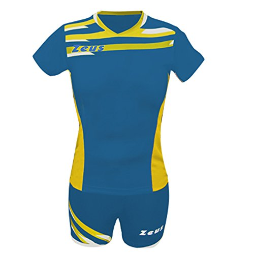 Zeus Kit Itaca Donna Damen Volleyball Trikot Hose Shirt Indoor Handball Training Ausbildung Royal-Gelb (S)