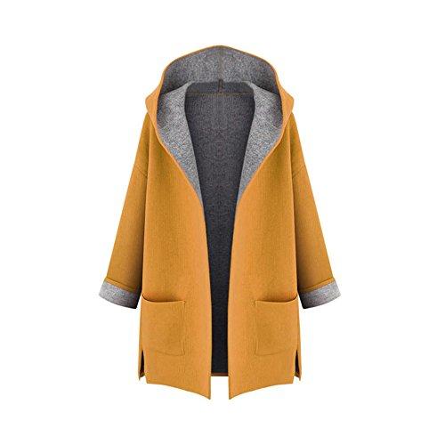 OCHENTA Mujer Abrigo color del caramelo de Manga Larga con Capucha Coat Jacket Amarillo XL