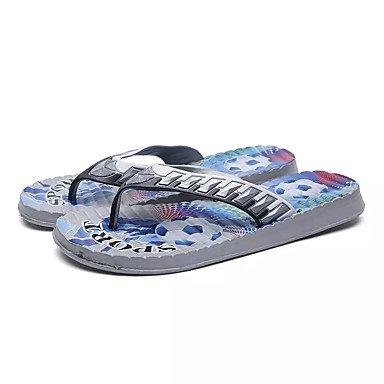 Uomo Pantofole e al comfort PU Estate Outdoor piatto Heel Blu Giallo Grigio Sotto 1in Sandali sandali US10.5 / EU43 / UK9.5 / CN45