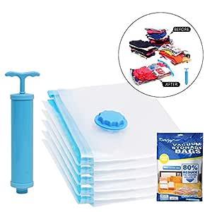 Kurtzy Vacuum Storage Reusable Ziplock Space Saver Bags (Pack of 5) 2 Small (40 cm x 60 cm), 2 Medium (50 cm x 70 cm), 1 Large (60 cm x 80 cm) with Hand Pump for Travel