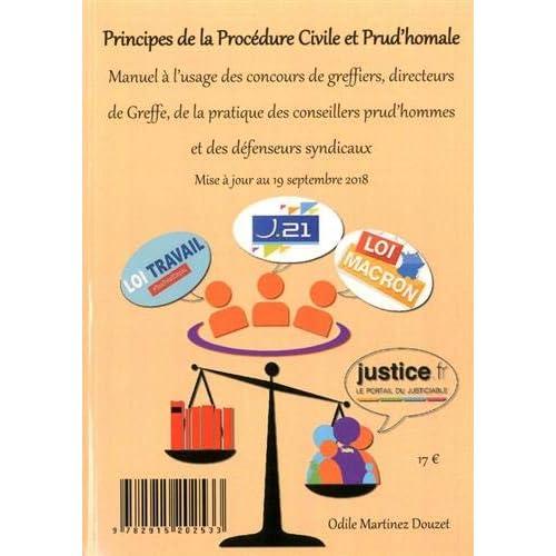 Principes de la procédure civile et prud'homale : Manuel à l'usage des concours de greffiers, des directeurs de greffe, de la pratique des conseillers prud'hommes et des défenseurs syndicaux
