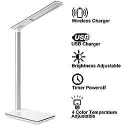 lampada da tavolo a LED, KuGi ® Desk Lamp Con 5W touch dimmer LED (5v, 1A) USB / Qi Wireless Caricabatterie e controllo di temporizzazione, 4 colori Modi (lettura / Studiare / rilassamento / Bedtime), 5-Livello Dimmer.(Bianca)