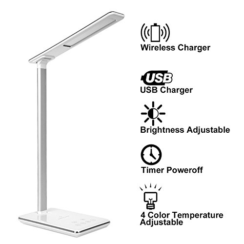 LED Schreibtischlampe, KuGi ® 5W Touch-Dimmer LED-Schreibtischlampe mit (5V, 1A) USB / Qi Wireless-Ladegerät & Zeitsteuerung, 4 Farbmodi (Lesen / Studium / Entspannung / Schlafenszeit), 5-Level-Dimmer.(Weiß)