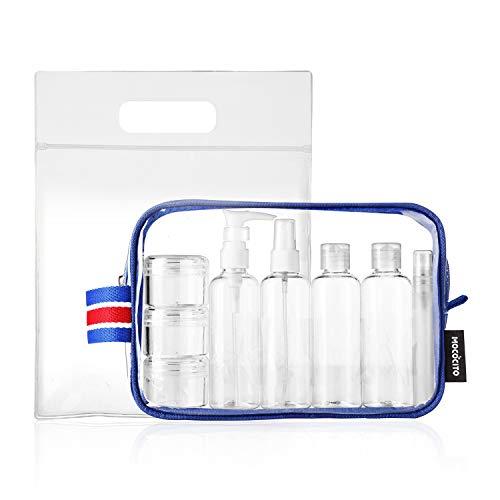Mococito borsa da toilette viaggio trasparente con 8 bottiglie approvata secondo le regolamentazioni ue e uk sul bagaglio a mano | borsetta da trucco trasparente con zip (20x20cm) [blu]