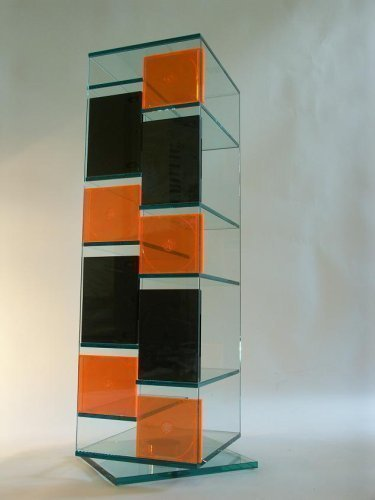 Glas CD DVD Regal JANUS 95 cm drehbar Archivierung aus Klarglas