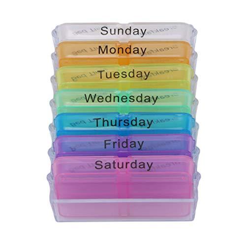 Preisvergleich Produktbild Eleusine Pillendose Für 7 Tage Wöchentlich Pill Veranstalter Medizin Tablet Dispenser Tragbare Reise Pill Aufbewahrungskoffer