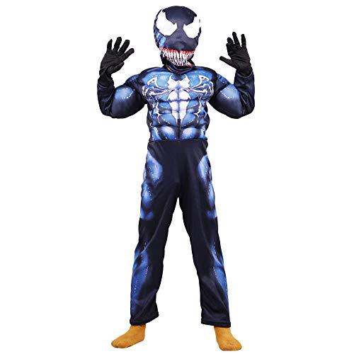 NDHSH Venom Spiderman Cosplay Kostüm Erwachsene Kind Kostüm Overall Outfit Maskerade Performance Kleidung Kopfbedeckung, Child01-M