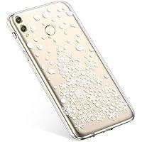 Uposao Handyhülle Huawei Honor Play Silikonhülle Christmas Durchsichtig Weiche Silikon TPU Handytasche Transparent Ultra Dünn Kristall Klar Crystal TPU Bumper Backcover,Schneeflocken