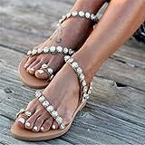 Eleusine Bohême d'été Sandale plate pour femme Plage Floral Sandale plate-forme (38)