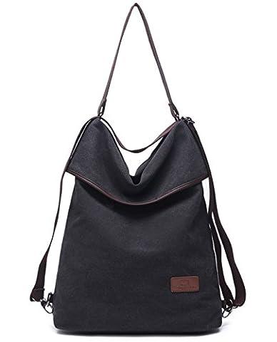 Travistar Vintage Canvas Multifunktionsbeutel, Damen Schultertasche, Damen Handtasche und Retro Rucksack für Arbeit, Schule und Lässige täglich (schwarz)