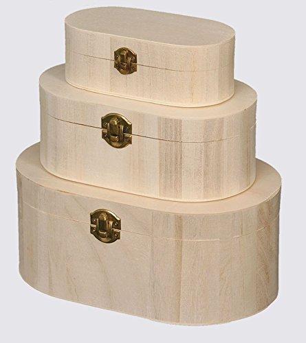 Boxen Oval, Serien Schmuckständer, mit Haken für Decoupage, Set von 3Stück-aus Holz -