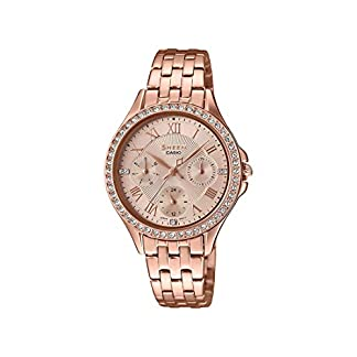 Casio Sheen Analog Rose Gold Dial Women's Watch-SHE-3062PG-9AUDF (SX219)