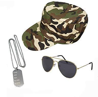 Kostüm Flieger Sonnenbrille - seemeinthat Armee Militär Marine Set Camouflage Cap Dog Tags Flieger Sonnenbrille Kostüm