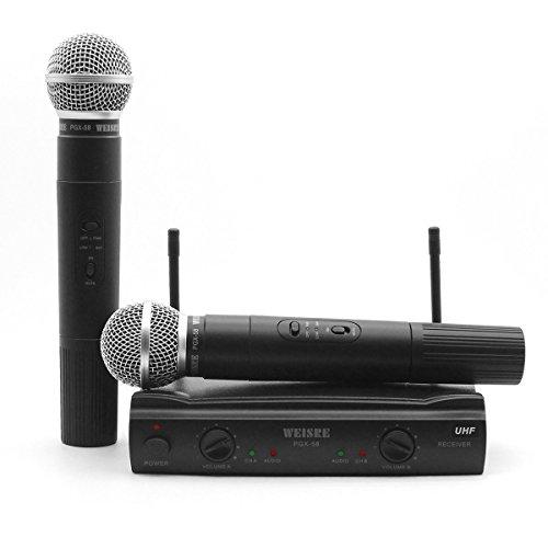 Funkmikrofon, professionelles Dual-Channel-UKW-Funkmikrofonsystem mit 2 dynamischen Handsendermikrofonen für Party, Konferenz, Karaoke (PGX58)