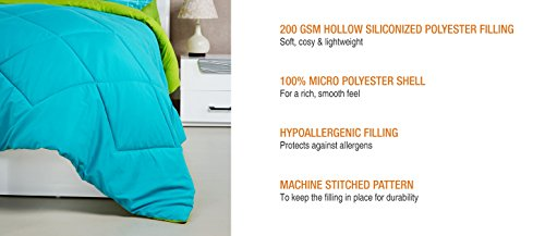 Amazon Brand - Solimo Microfibre Reversible Comforter, Double (Aqua Blue & Olive Green, 200 GSM)