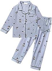 Freebily Pijama Niño Conjunto Pijamas Niños Algodon Pijama Niño Invierno Manga Larga Ropa de Dormir Adolescent