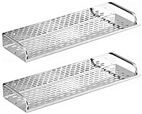 SBD Multipurpose Stainless Steel Chrome Finished Shelf (15x4.5 Inches) - Pack of 2